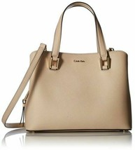 NWT Calvin Klein Cindy Saffiano Small Leather Satchel – Wheat #108 - $139.99