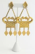 ESTATE VINTAGE Jewelry HUGE ETRUSCAN RUNWAY STATEMENT DRIPPY DANGLE EARR... - $135.00