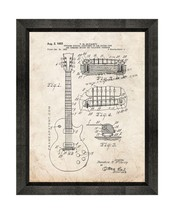 McCarty Stringed Musical Instrument Patent Print Old Look with Beveled Wood Fram - $24.95+