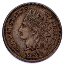 1863 Indian Cent 1C XF Condition, Brown Color, Great Strike w/ Clear Beads - $49.49