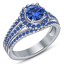 Round Cut Blue Sapphire 10k White Gold 925 Silver Women's Bridal Engagem... - $95.90