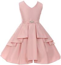Flower Girl Dress Solid Dull Satin Overlay Blush GG 3571 - $39.59+