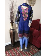 Pakistani  Royal blue Printed Straight Shirt 3-PC Lawn Suit w/ Threadwor... - $54.45