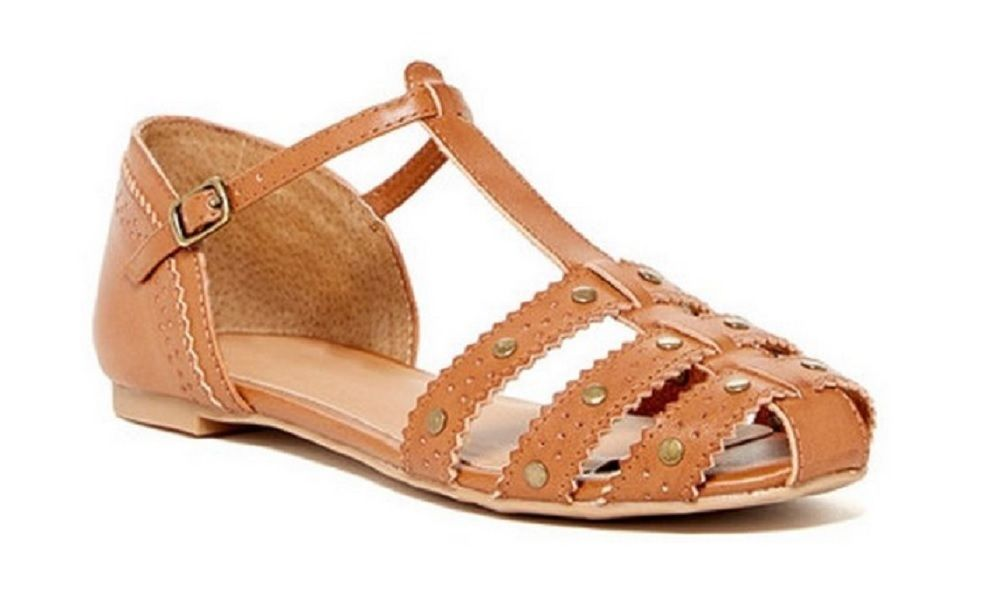 Dv By Dolce Vita Womens Zina Stella Manmade Leather Sandal Cognac  Size 9.5 US