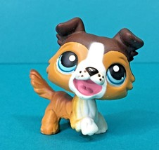 Littlest Pet Shop Collie Barking Puppy Dog Brown White Open Mouth Blue E... - $9.95