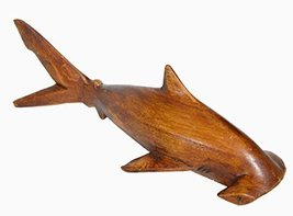 Hand Carved Chinaberry Wood Ocean HAMMERHEAD Shark on Parasite Wood Cora... - $19.74