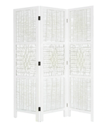 3 Panel Room Divider Wicker Weave Design with a Diamond Shaped Accent, W... - $135.00