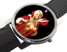 SEXY SANTA BABE PLAYBOY PINUP ART VINTAGE COLLECTIBLE CHRISTMAS RED WRIS... - $71.22