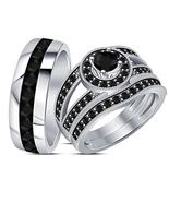 His & Hers Trio Black Diamond Wedding Ring Set 14k White Gold Plated 925... - $156.99