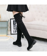 woman high stretch over-the-knee boot, slim look, size 4-10.5, black - $78.80