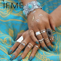 IF ME Natural Stone 19pcs/set Polygon Vintage Silver Color Bohemian Zirc... - $10.49