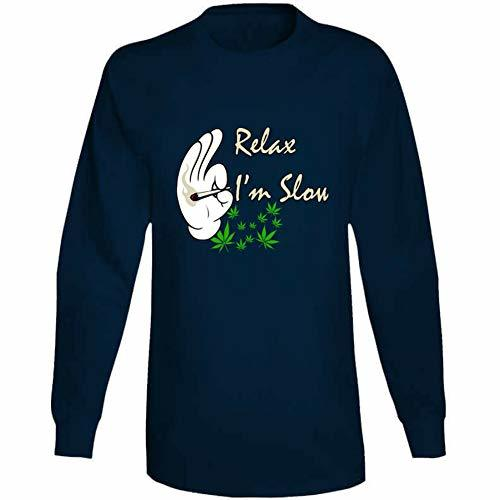Tremendous Designs Relax I'm Slow 420 Canna Long Sleeve T Shirt 3XL Navy