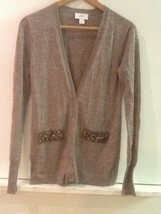 Ann Taylor Loft Tan Knit Jewel Embellished Cardigan Sweater Size S Small - $15.95
