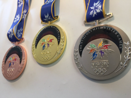 Nagano 1998 Olympic Medals Set (Gold/Silver/Bronze) with Silk Logo Ribbo... - £57.13 GBP