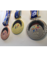 Nagano 1998 Olympic Medals Set (Gold/Silver/Bronze) with Silk Logo Ribbo... - $79.00