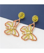 Lesale jewelry gorgeous hollow out colorful rhinestone butterfly women earrings yellow thumbtall