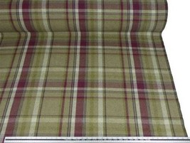 Tartan Check Wool Look and Feel Purple Green Upholstery Fabric Material ... - $4.23