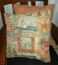 Pair of Cream Blue Pink Seaside Print Decorative Throw Pillows   17 x 17 - $49.95