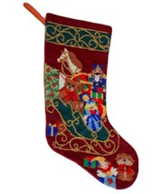 Vintage Needlepoint Christmas Stocking Beaded Santa Sleigh Toys Presents... - $67.72