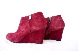Anne Klein Trumble Women Footwear Wedge Boots Heels Shoes Sandals Wine Suede 6.5 - $56.09