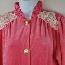 Vintage Miss Elaine Small Pink Velvet Lace Trim Detail Long Robe House C... - $41.80
