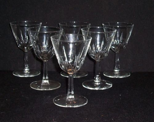 6 Vintage Clear Glass Stemmed Wine/Cocktail Bar Glasses 4 oz 5""