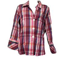 foxcroft pink plaid 3 button fitted stretch shirt Size 12 - $19.79