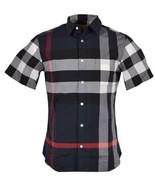 New Burberry Brit Men's $390 WINDSOR Nova Check Cotton Short Sleeve Shirt M - $236.61