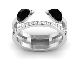 925 Sterling Silver Black Spinel Natural Zircon Eternity Stackable Unise... - $35.80