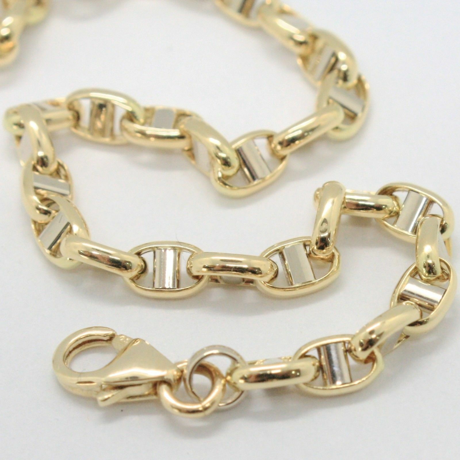 Bracelet in Yellow and White Gold 18K 750 Mesh Crosspiece Made in Italy