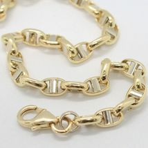 Bracelet in Yellow and White Gold 18K 750 Mesh Crosspiece Made in Italy image 4