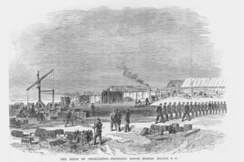 Siege of Charleston, Engineering Depot on Morris Island by Frank Leslie - Art Pr - $19.99+