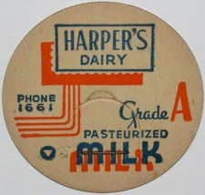 Vintage milk bottle cap HARPERS DAIRY Phone 1661 Grand Junction Colorado... - $8.09