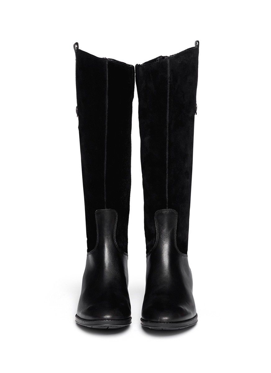 59653b1fa239 SAM EDELMAN New Pembrooke Tall Knee Leather Zip Military Riding Black Boots  5 M