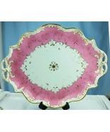 Lg Antique Tiffany & Co. Stoke on Trent Platter Shabby Chic Pink Gold En... - $296.01