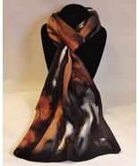 Hand Painted Silk Scarf Copper Brown White Black Rectangle Head Neck Wrap Gift - $56.00