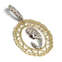 Pendentif Médaille, or Jaune Blanc 750 18k, Vierge Marie, avec Cadre, Cœurs image 2