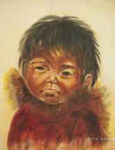 "Vintage Hand Painted  ""Untitled/ Portrait of A Young Eskimo Child"" By Fa... - $299.99"
