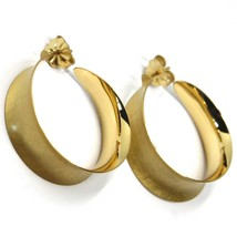 925 STERLING SILVER CIRCLE HOOPS BIG EARRINGS 4cm x 1.2cm YELLOW SATIN CURVED image 1