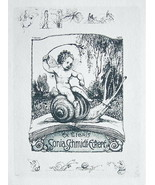NUDE EX LIBRIS Butterfly Cupid Riding Snail - 1922 Lichtdruck Print - $10.80