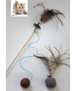 Cat teaser wand with wool ball ,feathers  & wool ball feather , 1 set - $25.99