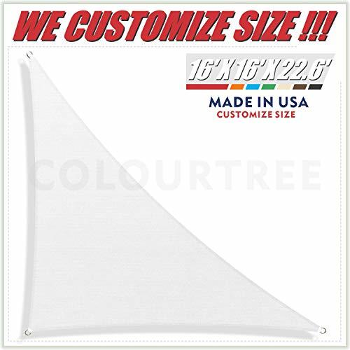 ColourTree 16' x 16' x 22.6' Right Triangle White Sun Shade Sail Canopy Awning S