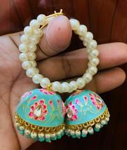 Kundan Jhumka with beg pearls bali earrings TorqoisLattest Desgins Jewel... - $36.62