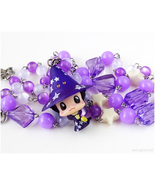 Reborn Chibi Character necklace, white, purple, handmade jewelry, anime ... - $35.00