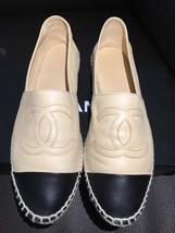 *Worn1x CHANEL Beige Black Lambskin Leather CC Espadrilles Driving Loafe... - $780.49