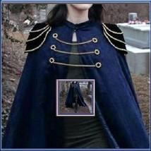 Renassiance Long Solid Dark Blue Capped Shoulder Gothic Cape Vintage Clo... - $119.95