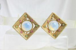 Vintage Pretty Opaline Gripox Pink Green Rhinestones Clip Earrings Gold ... - $18.00