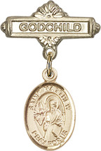 14K Gold Baby Badge with St. Matthew the Apostle Charm Pin 1 X 5/8 inch - $425.00