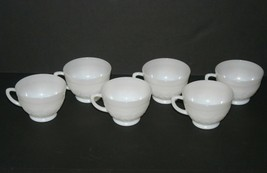 6 Vintage French Opaline Milk Glass Coffee Cups, Flowers and Vines Pattern - $37.04