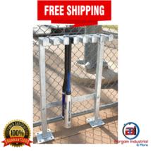 Permanent Bat Rack Baseball Softball Heavy Duty Steel Outdoor Stand Stor... - $133.27